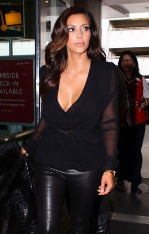 KIM KARDASHIAN in Leather Pants